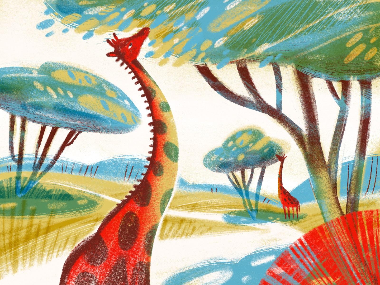 animal illustrations giraffes tubikarts