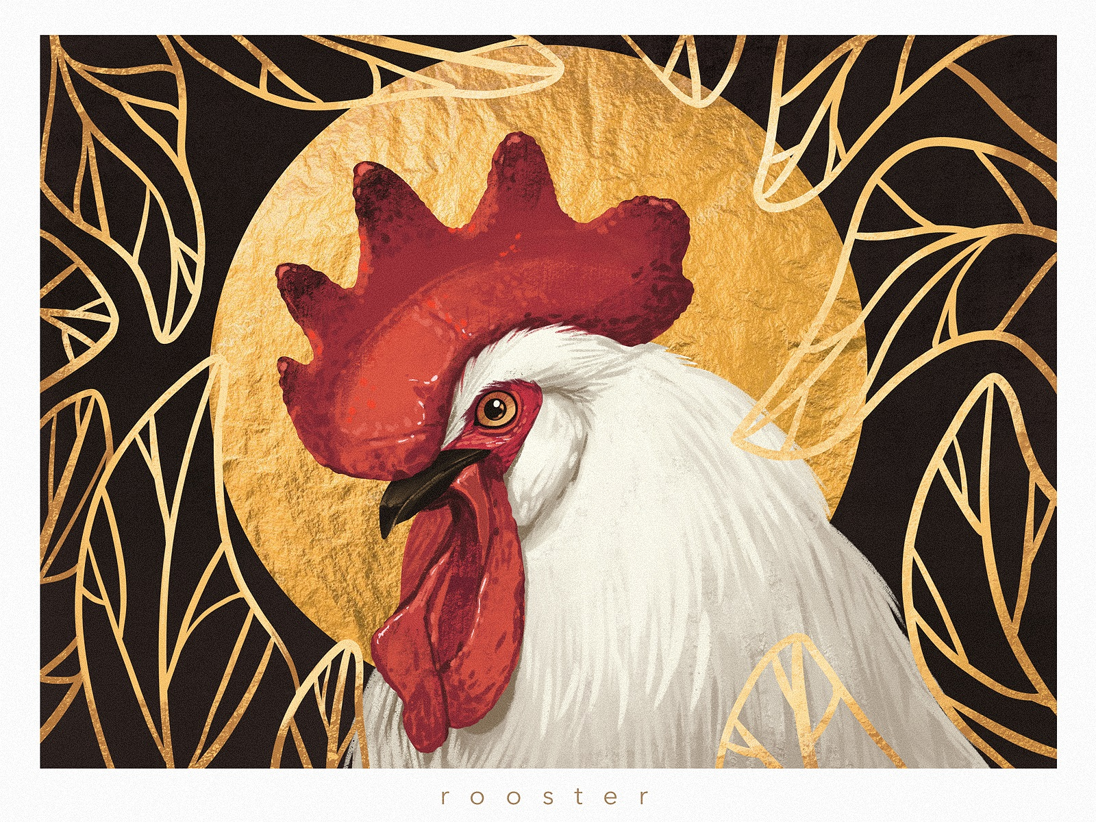 animal rooster portrait illustration tubikarts