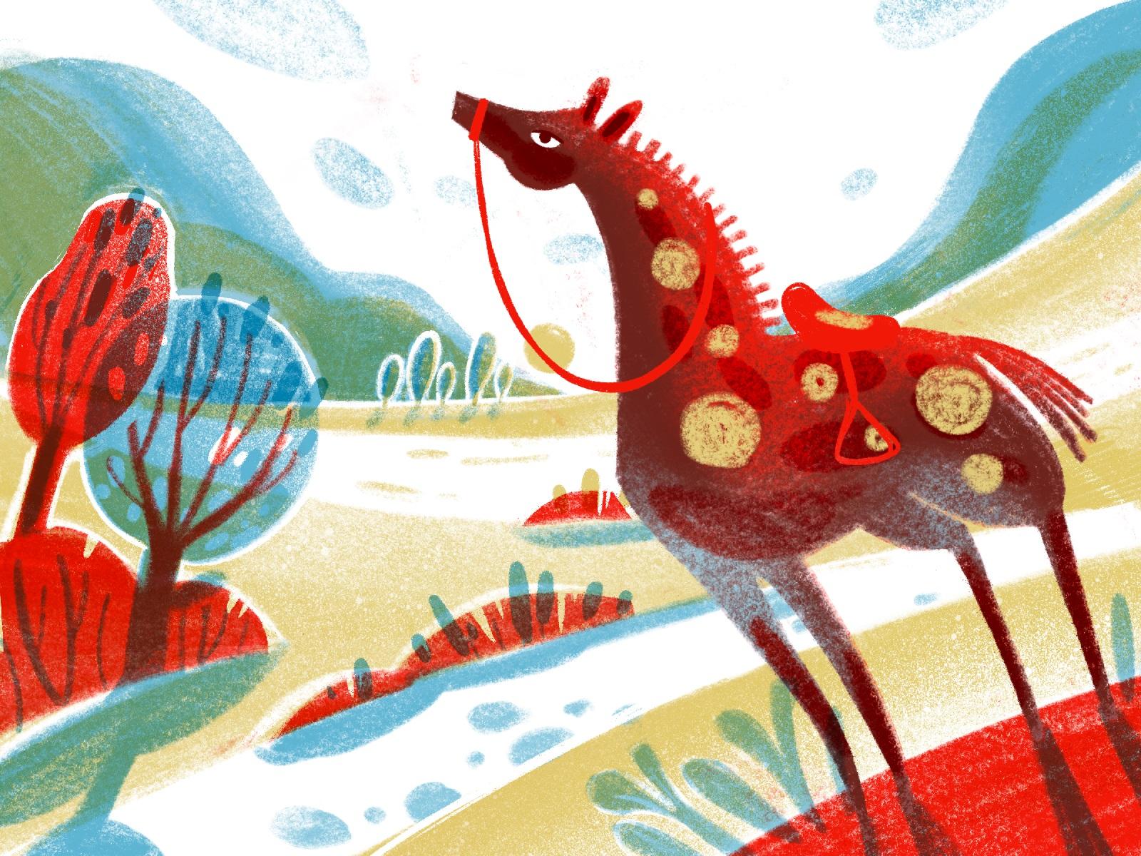 animal world horse illustration tubikarts