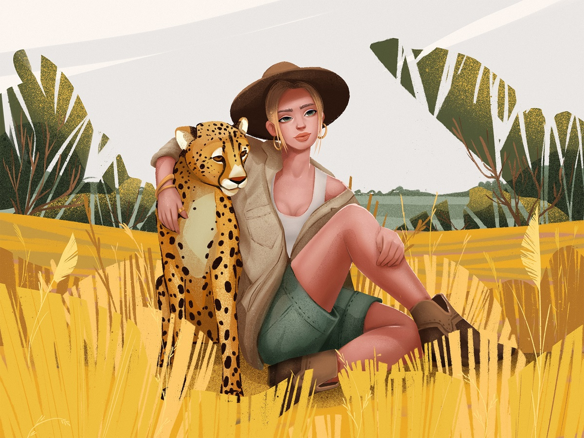 animals and people illustrations
