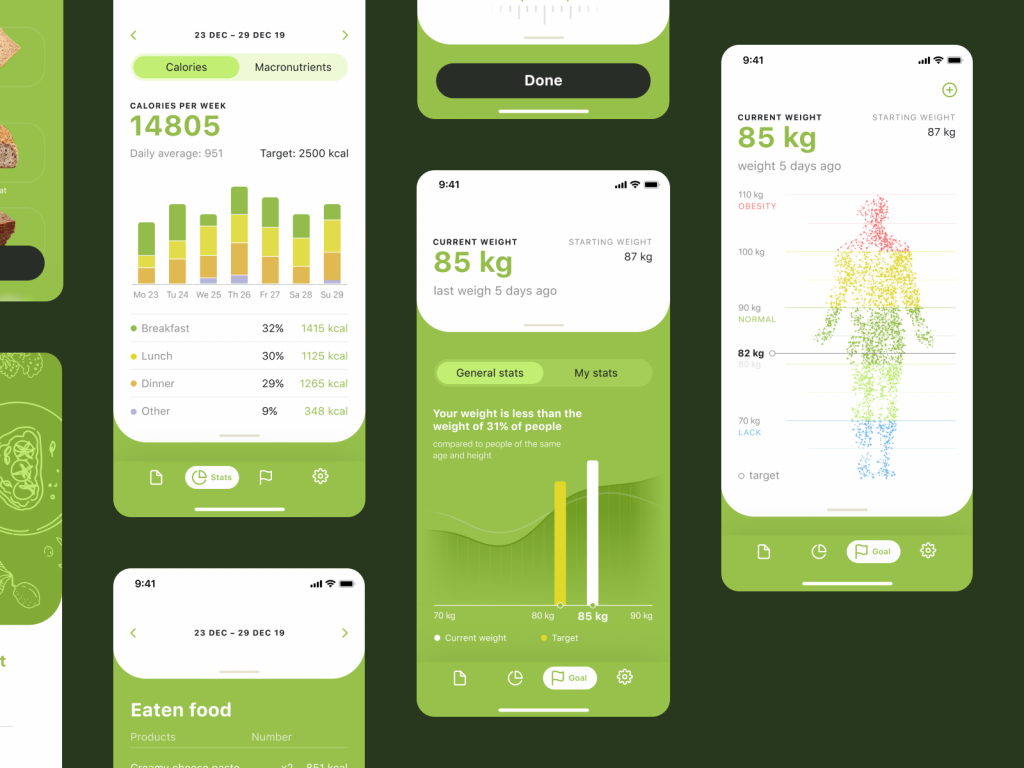 calorie app design stats screens