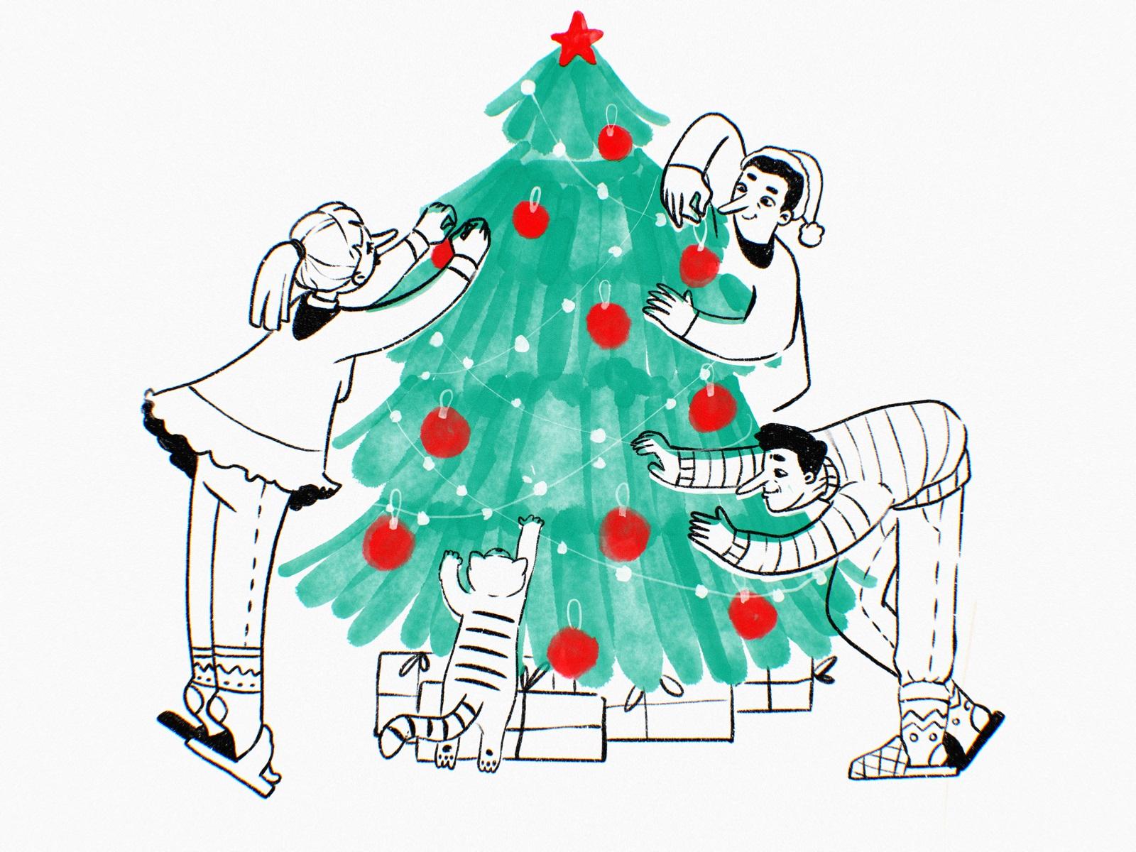 decorating christmas tree tubik arts illustration