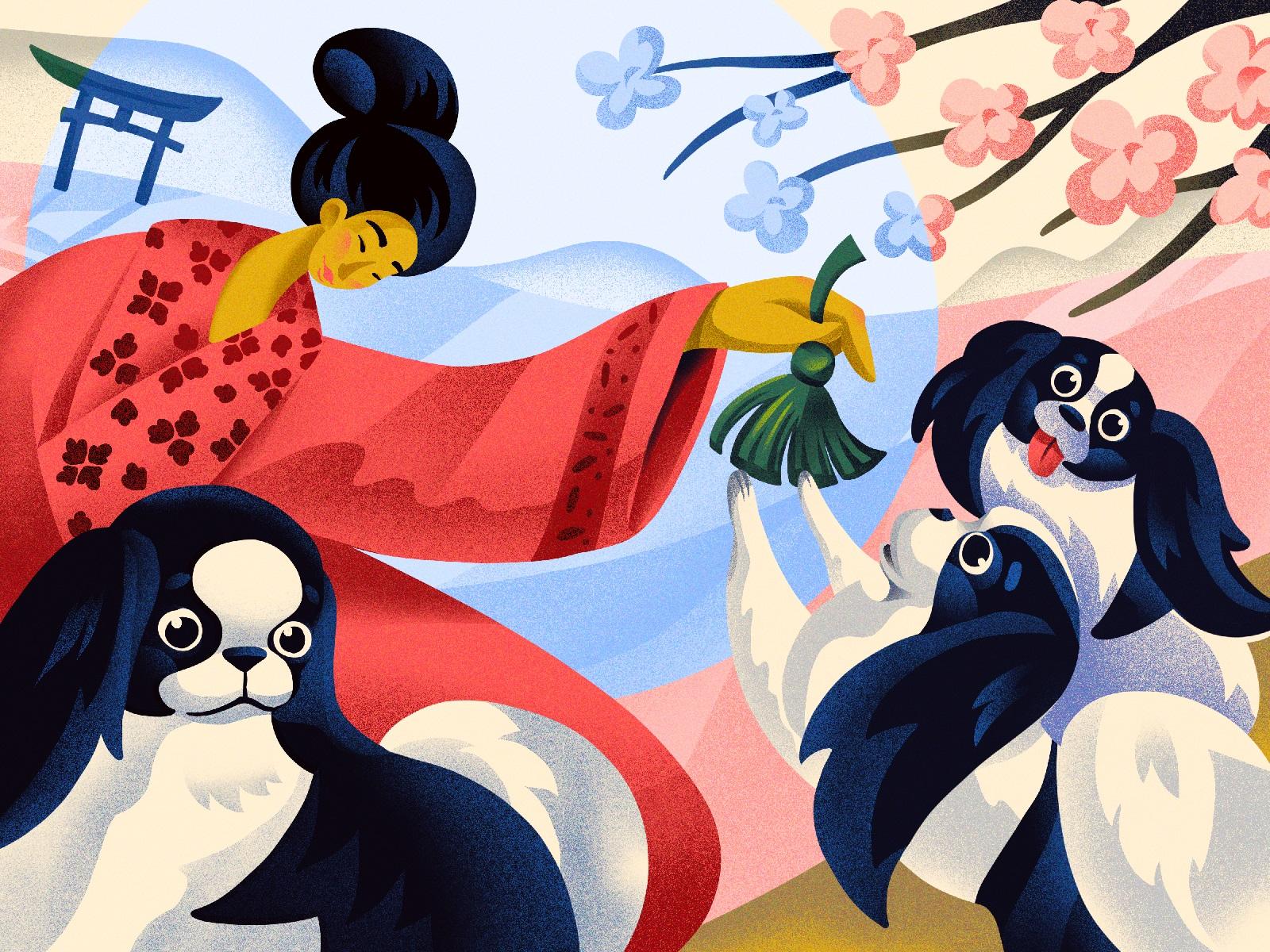 dogs japanese chin illustration
