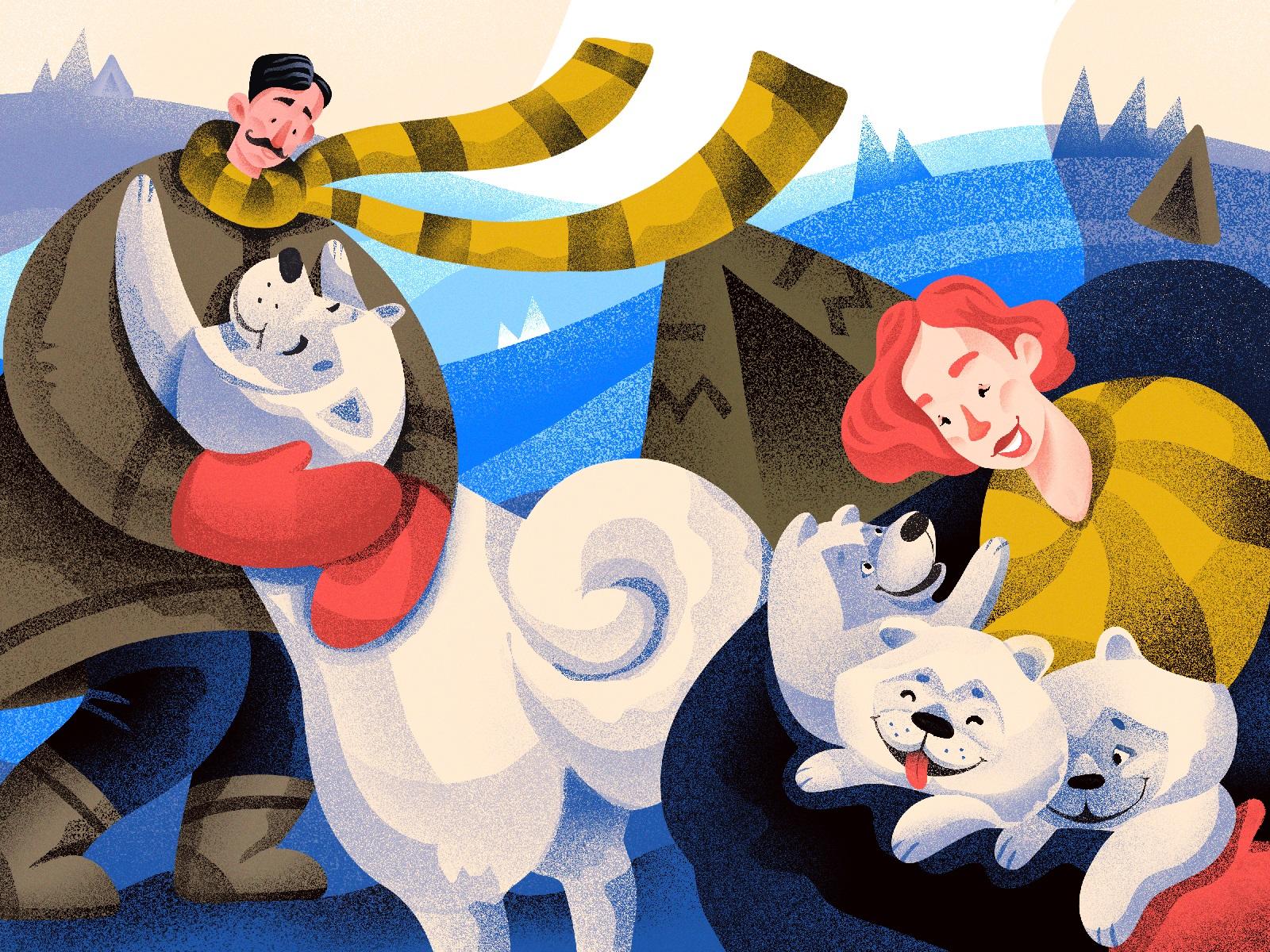 dogs samoyed illustration