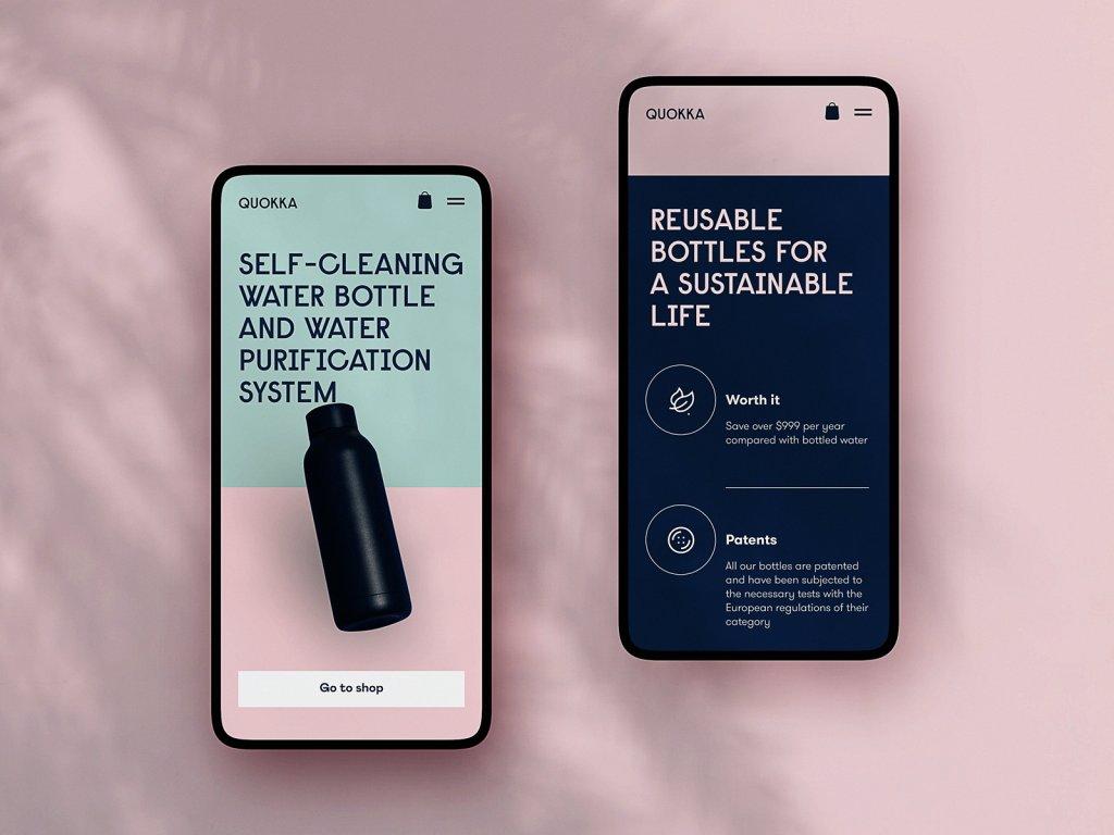reusable bottles mobile website tubik design