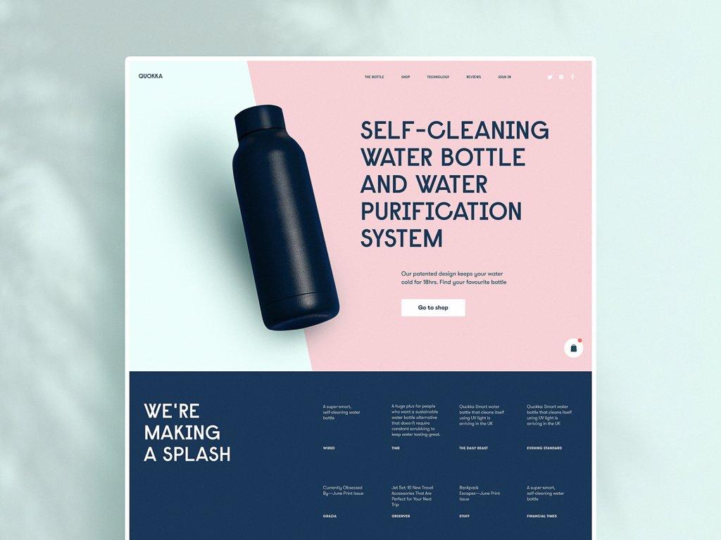 reusable bottles website tubik design