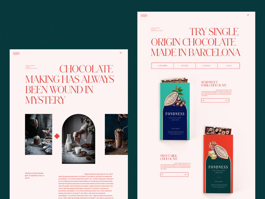 website design for confectionery tubik studio