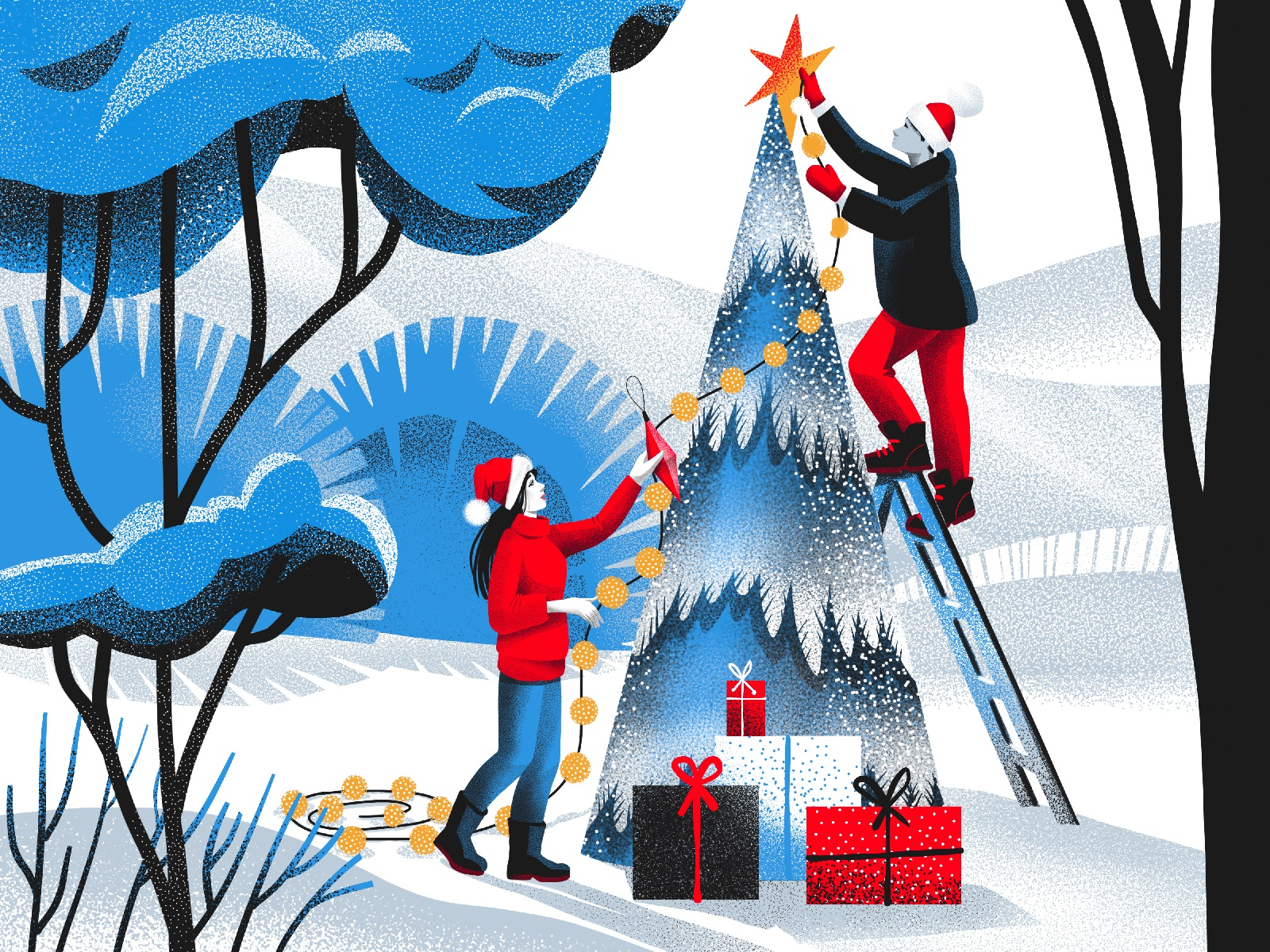 white christmas illustration tubikarts