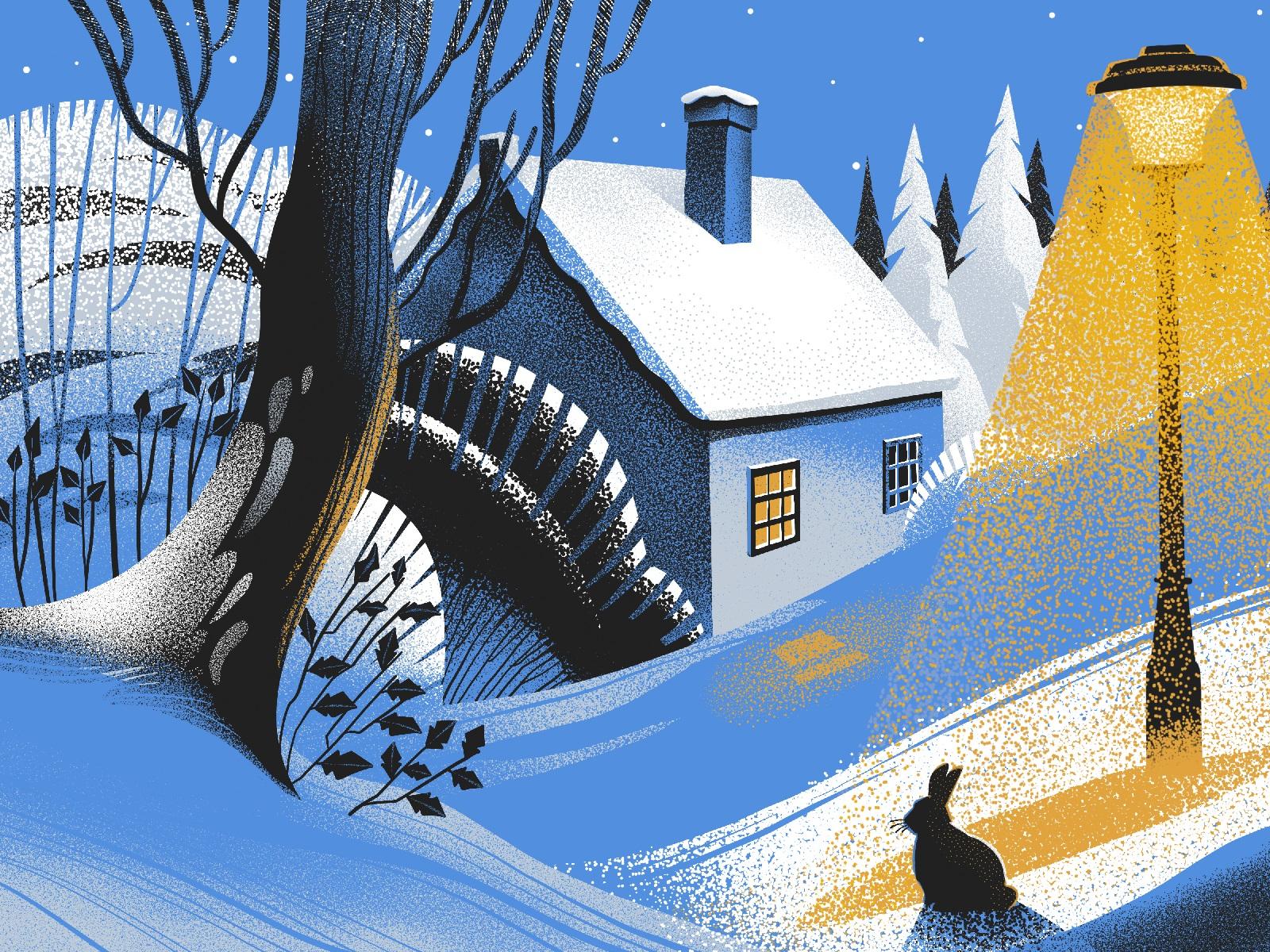 winter evening illustration tubikarts