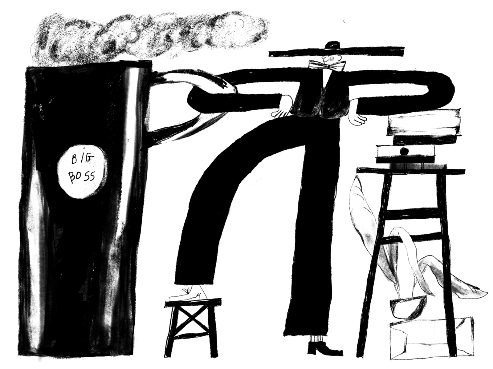 black and white illustration design studio