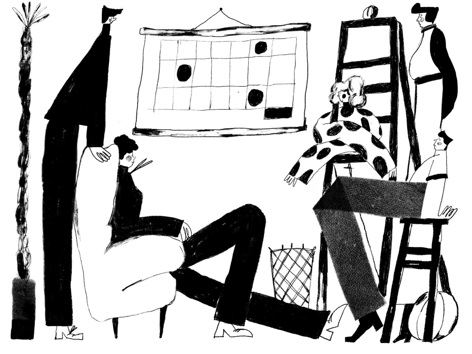 black and white illustrations tubik