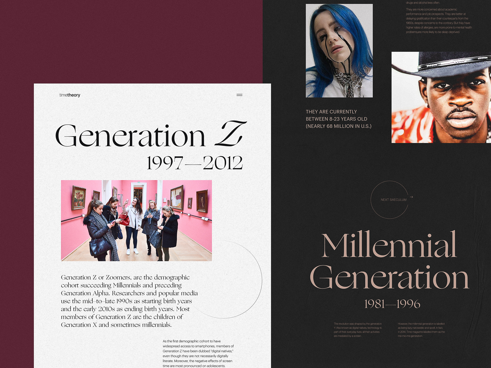 website for editorial about generations tubik studio
