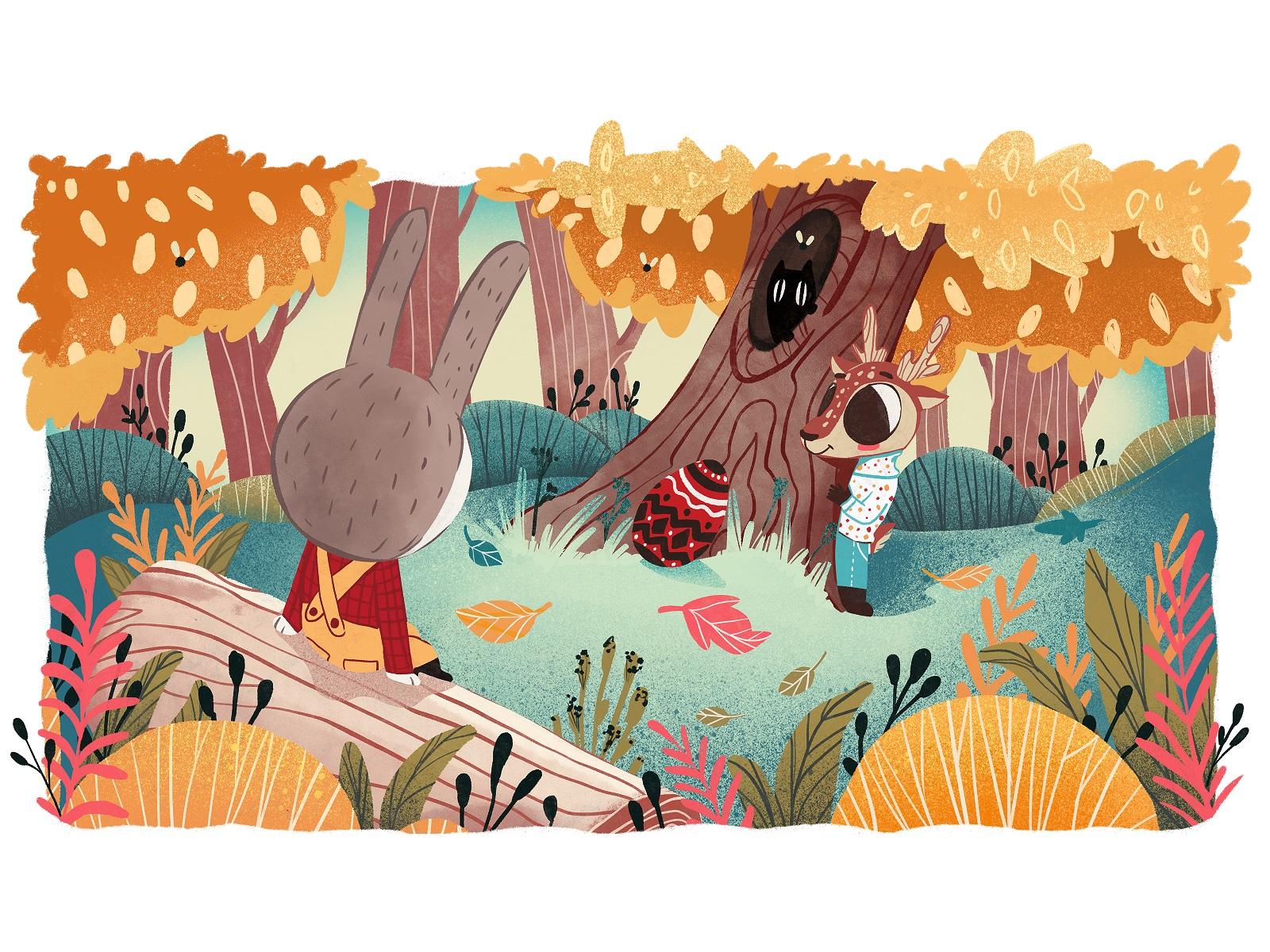 easter bunny adventures book illustration tubik