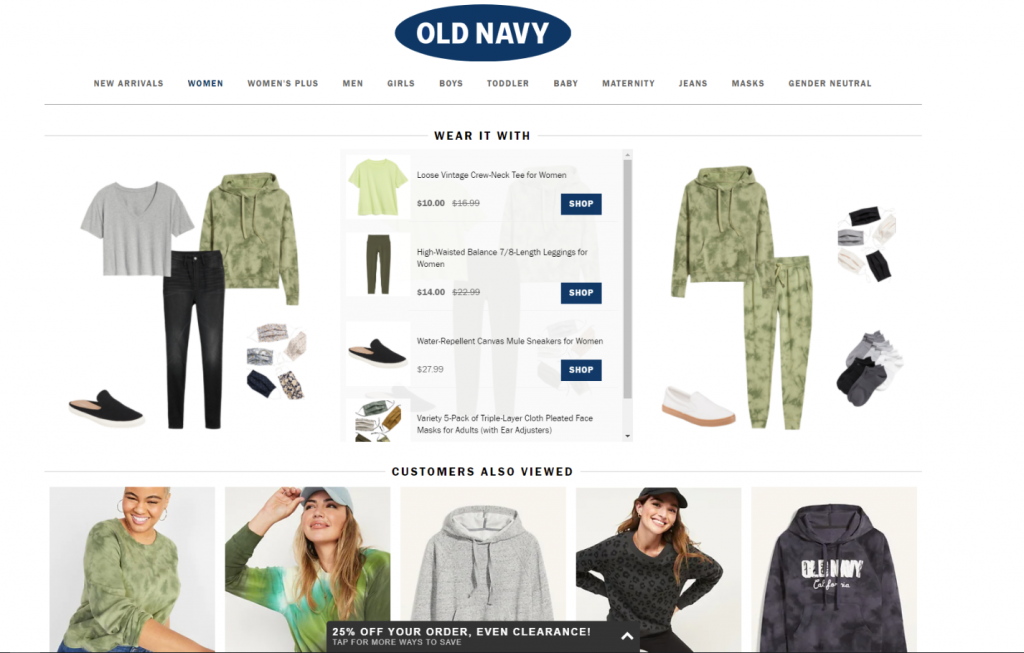 old navy product page