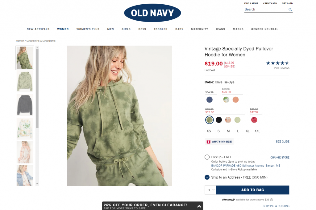 oldnavy product page