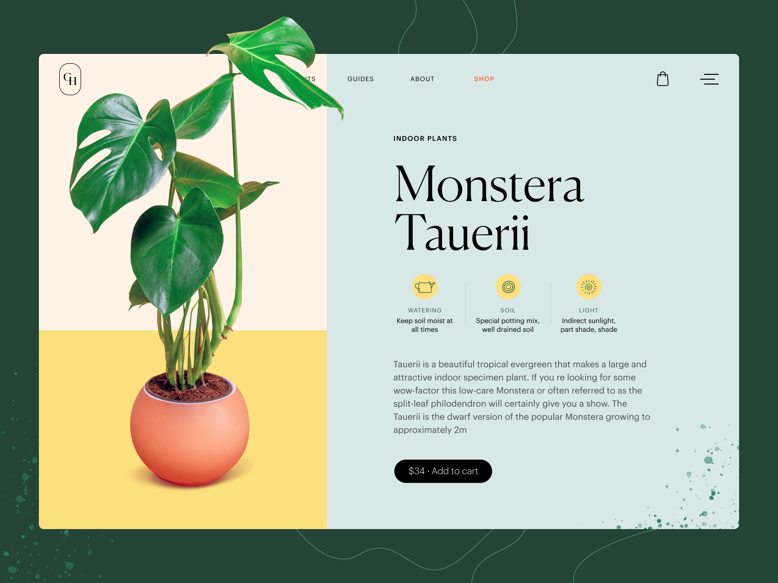 product page design gardening website tubik