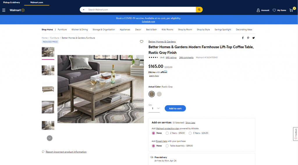 product page walmart