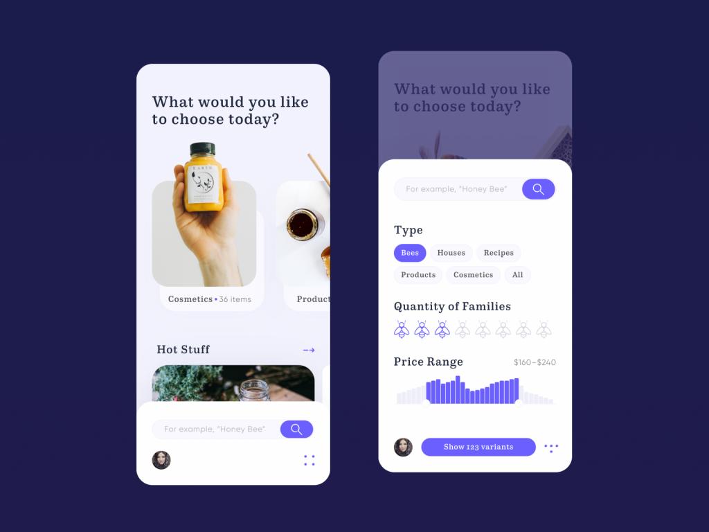 bee honey app design tubik