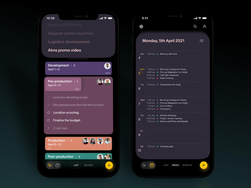 task manager app tubik design