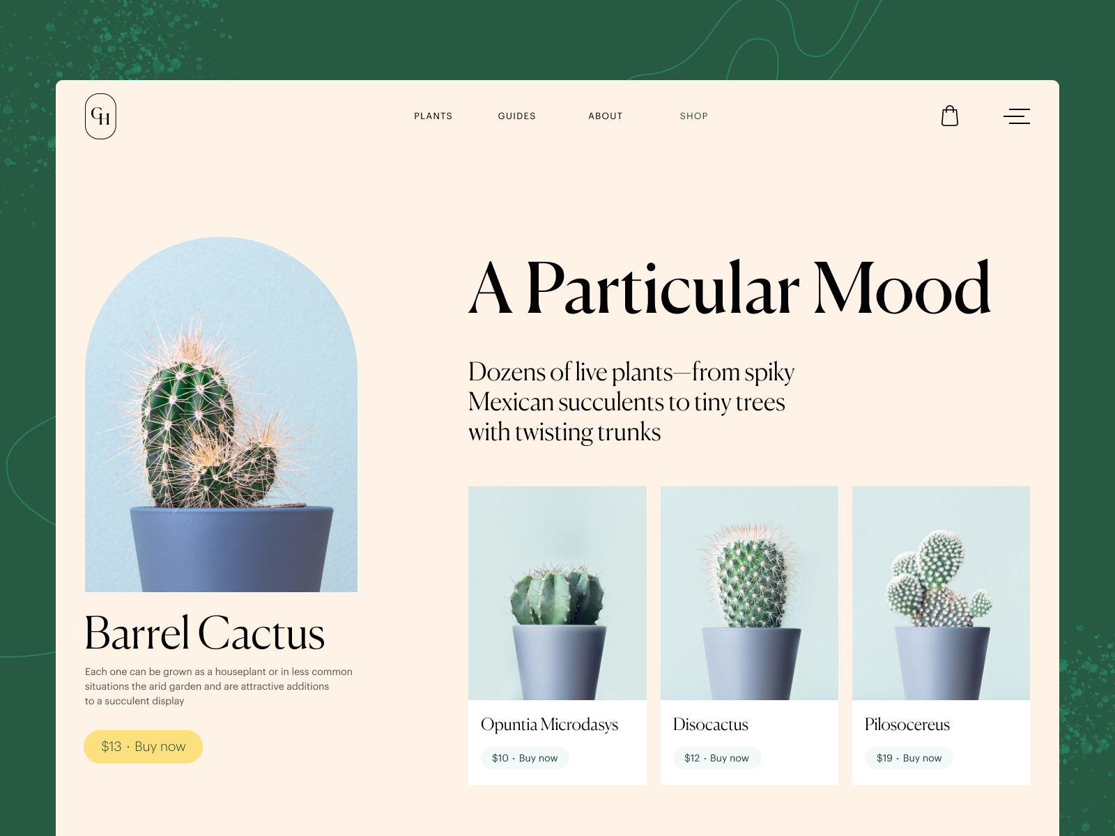 plant shop website design tubik