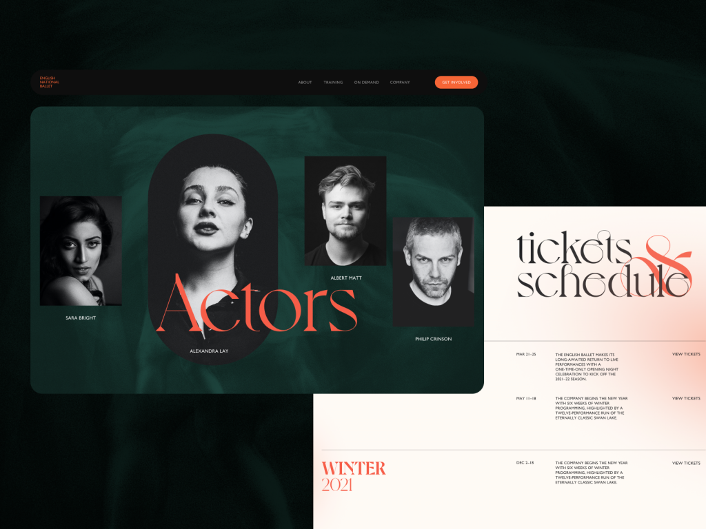 ballet website design tubik