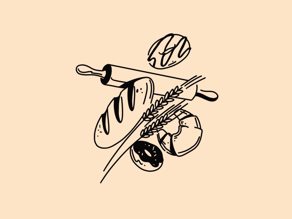 bakery lineart illustration