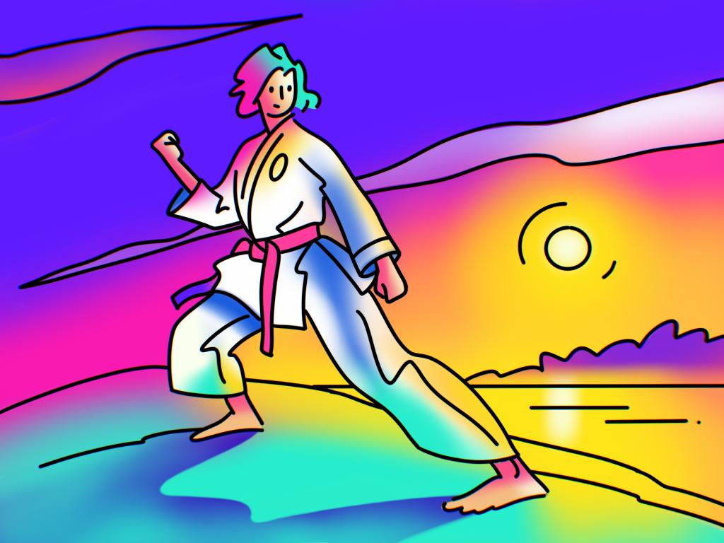 fighter illustration lineart