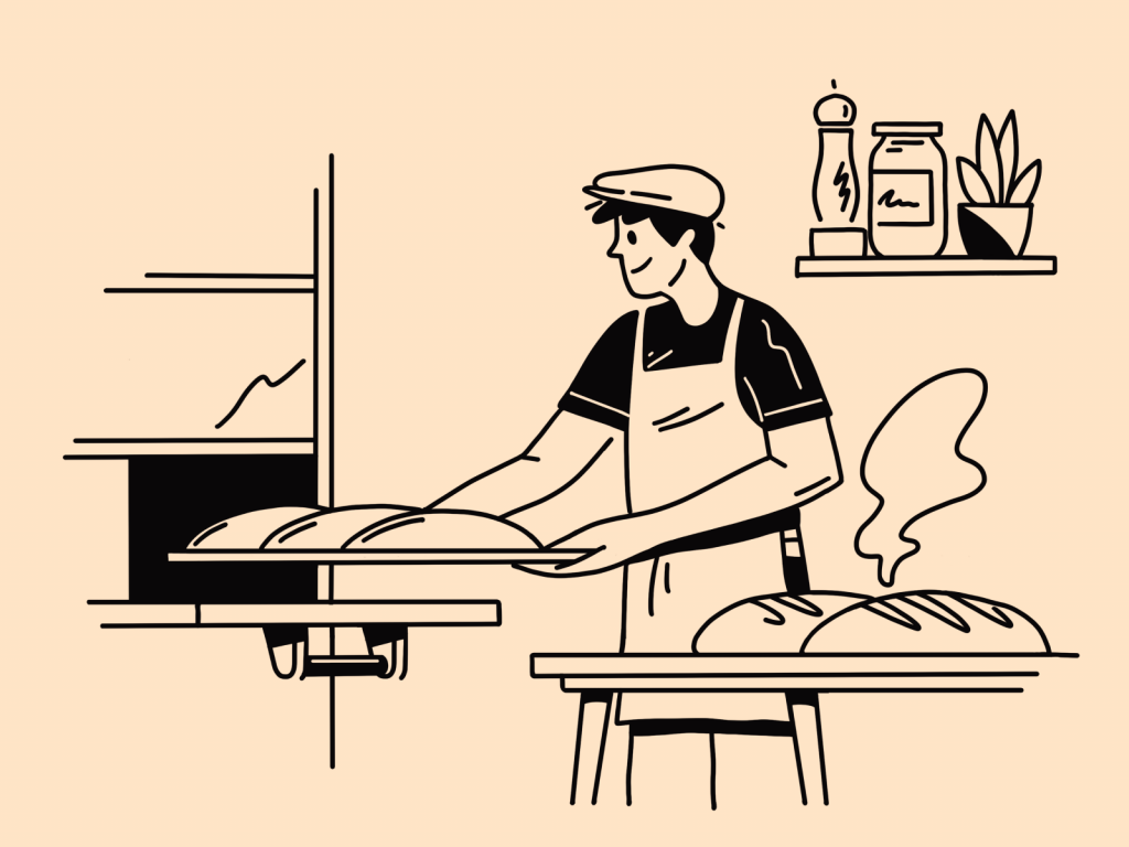 line art food baker